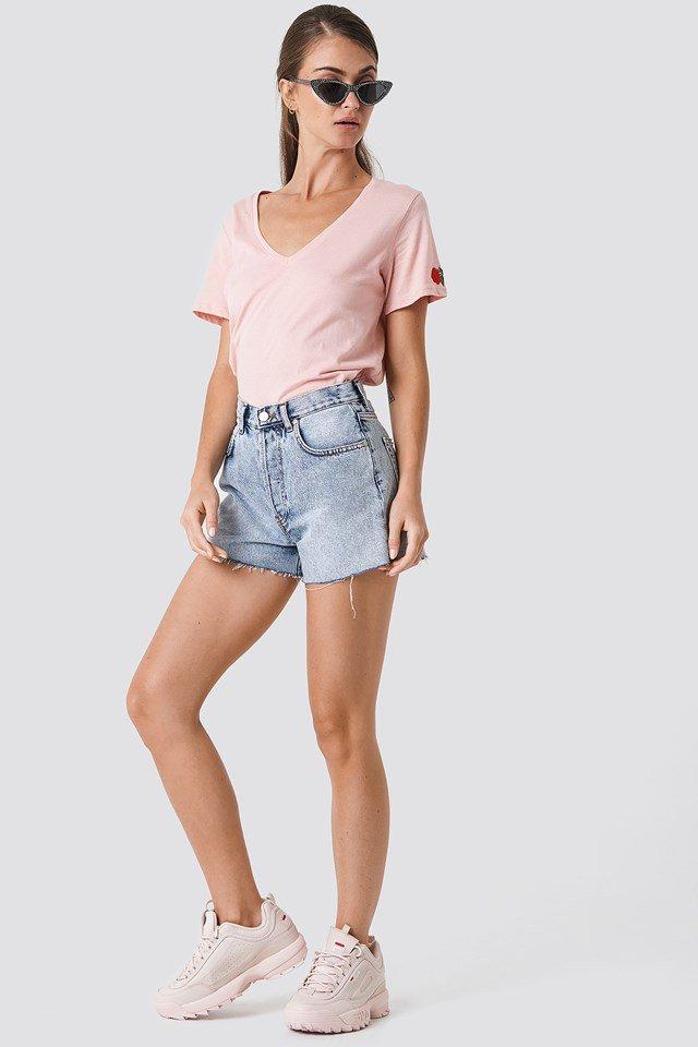 Denim Shorts with Basic Top