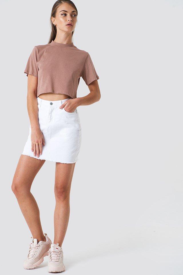 White Button Linen Look Midi Skirt