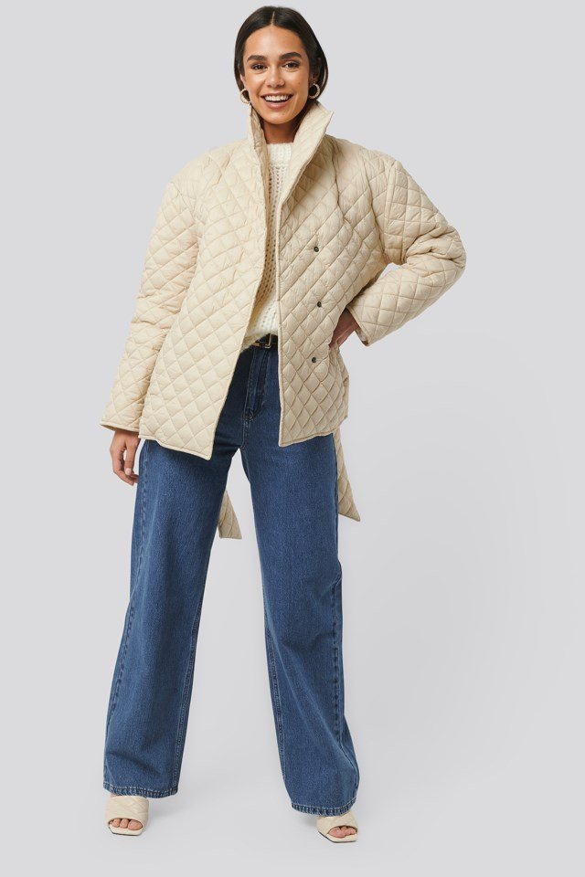 Beige Quilted Short Jacket