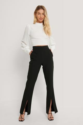 Black Pantalon De Costume Fendu À L'Avant