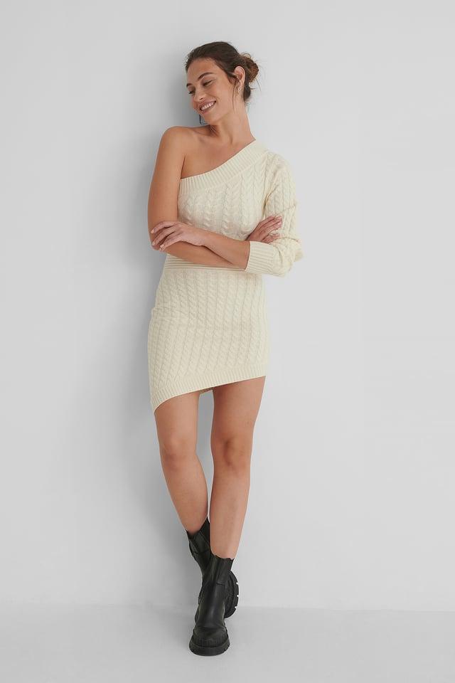 Mini Robe Tricotée Offwhite
