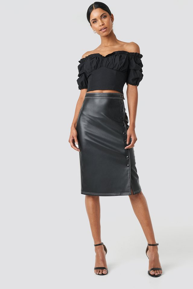 Black Front Button Contrast Faux Leather Skirt
