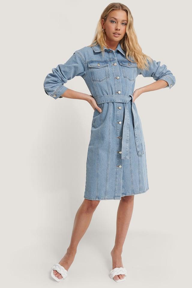Recyclée Robe En Jean Light Blue