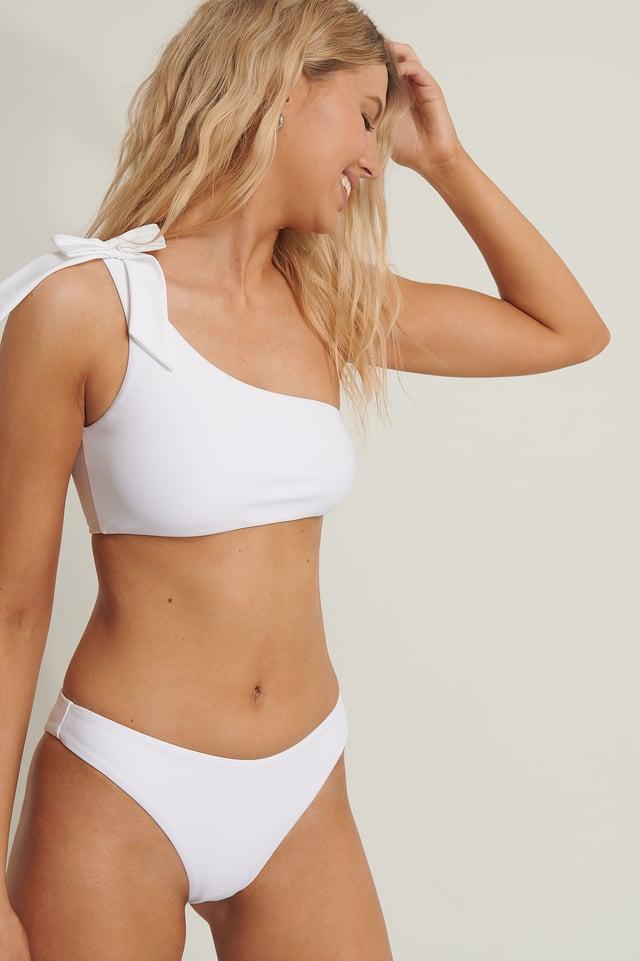 Haut De Bikini Une Épaule White