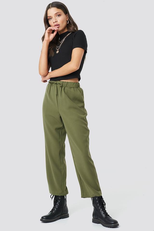 Olive Drawstring Suit Pants