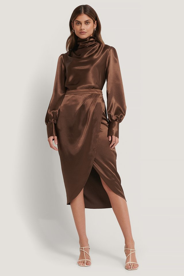 Jupe Satin Brown