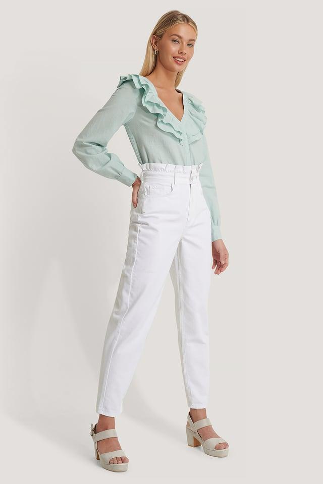 Jean Mom Taille Haute White