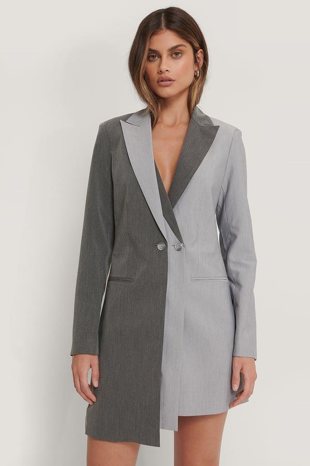 Robe Blazer À Deux Couches Grey