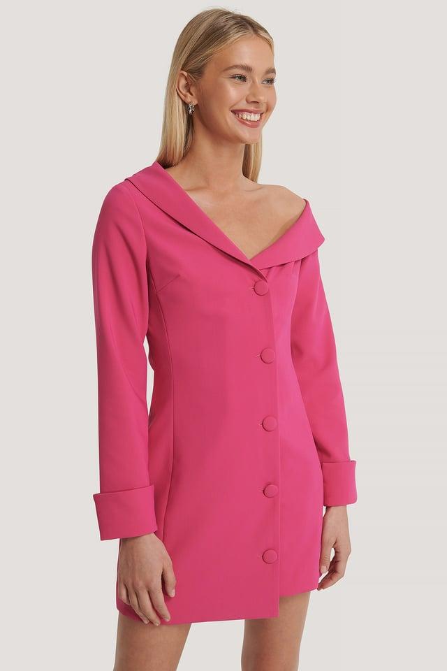Pink Robe Mini À Épaules Dénudées