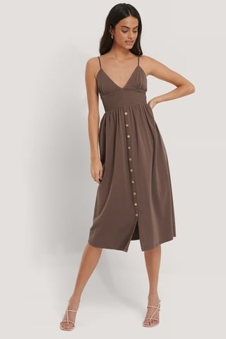 Nude Button Detailed Cotton Dress