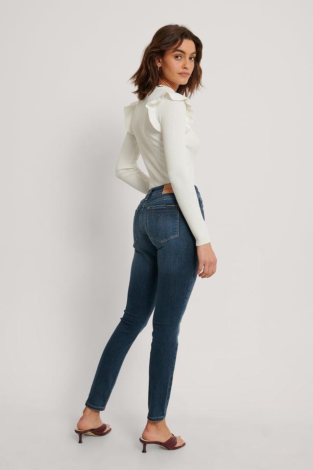 Jean Taille Mi-Haute Mid Blue