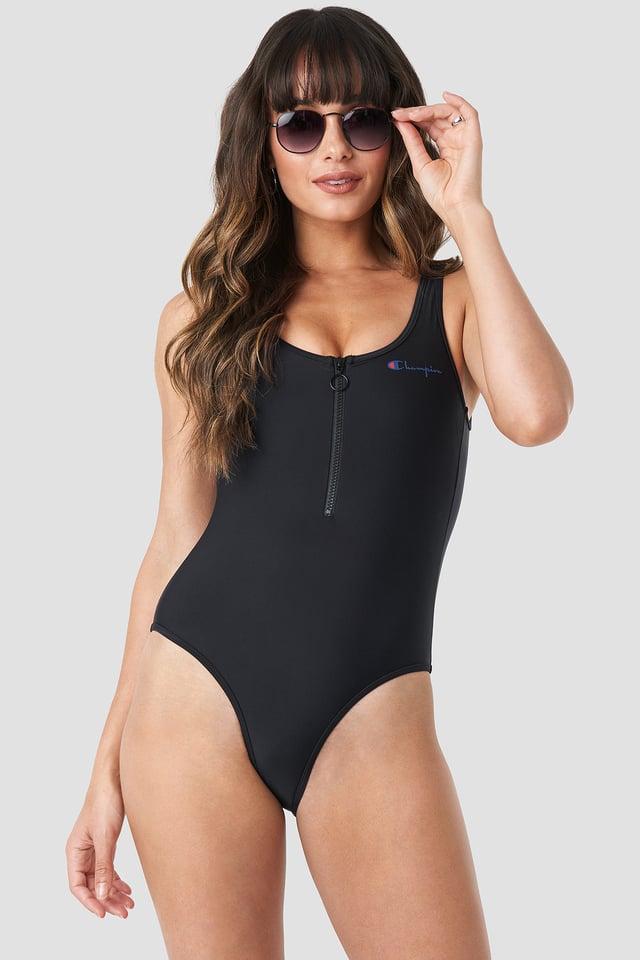 Black Zipper Swimsuit