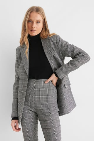 Grey Big Check Blazer À Carreaux
