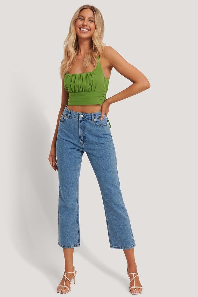 Blue Jean Droit Taille Haute