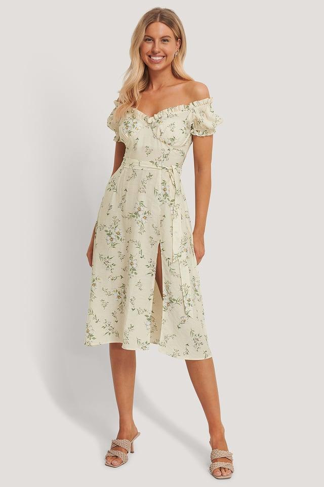 Off Shoulder Midi dress Flower Print