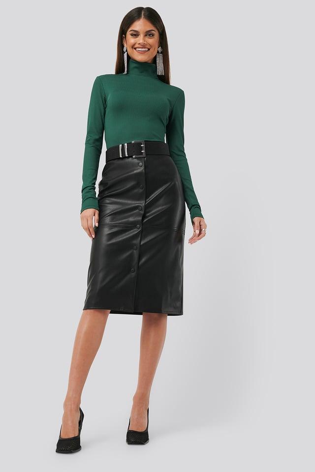 PU Button Midi Skirt Black