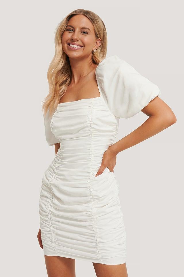 Robe Mini Froncée À Manches Bouffantes White