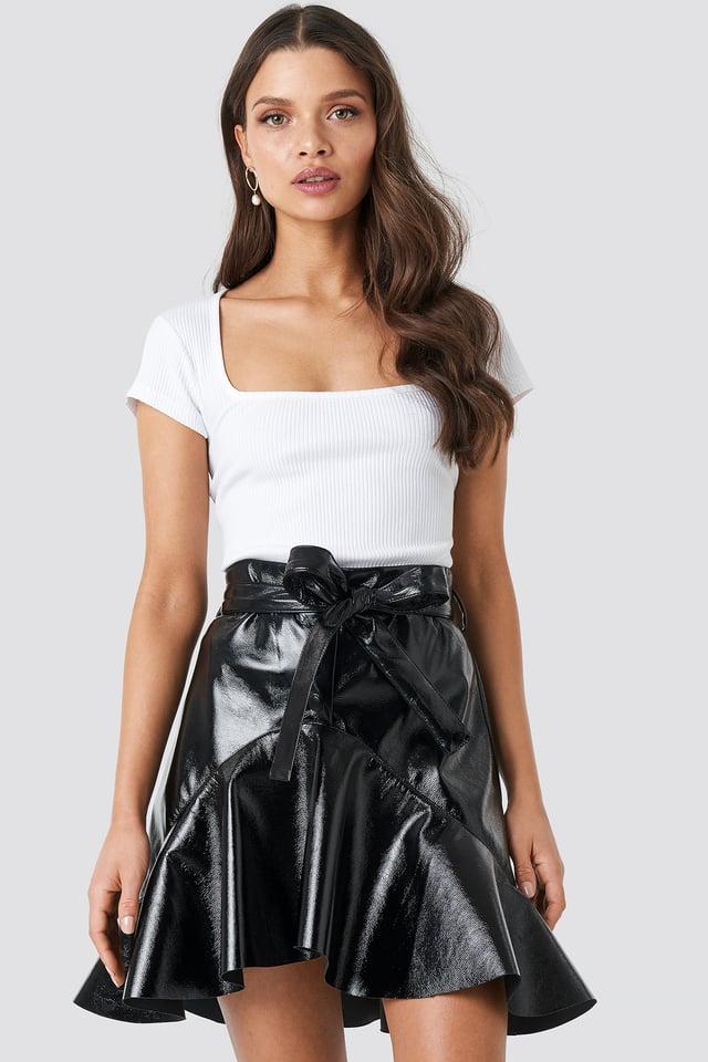 Flared Patent Mini Skirt Black
