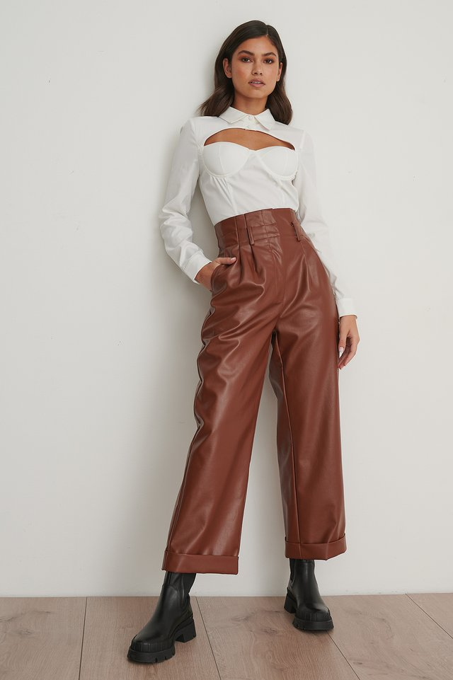 Brown Pantalon Plissé