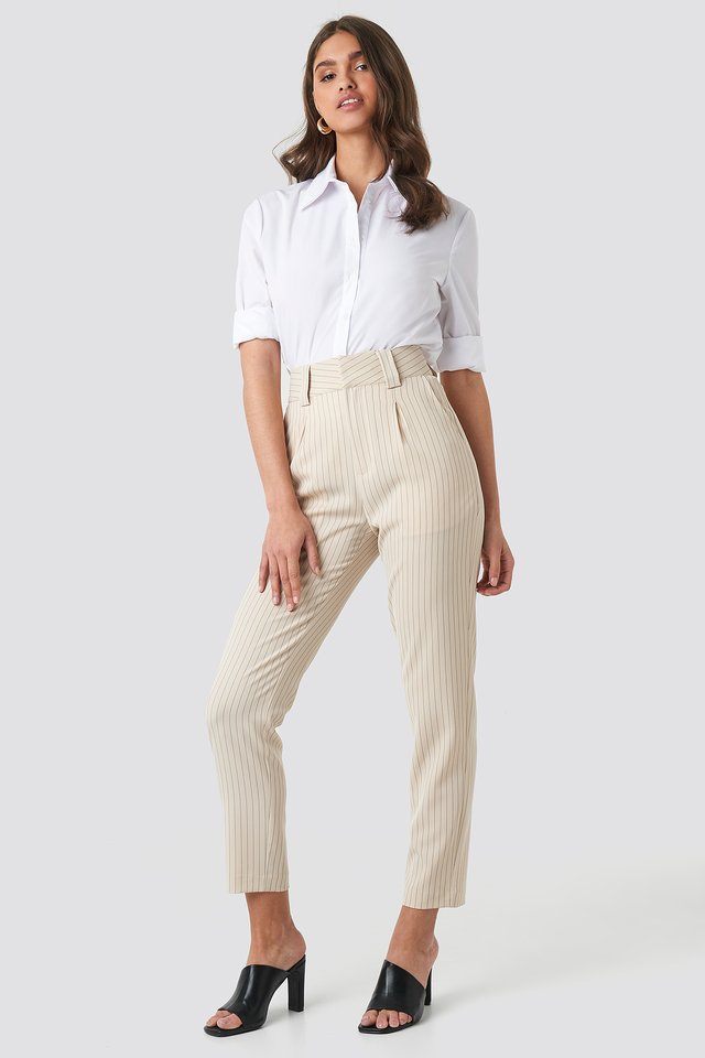 Pinstriped Cigarette Pants Beige