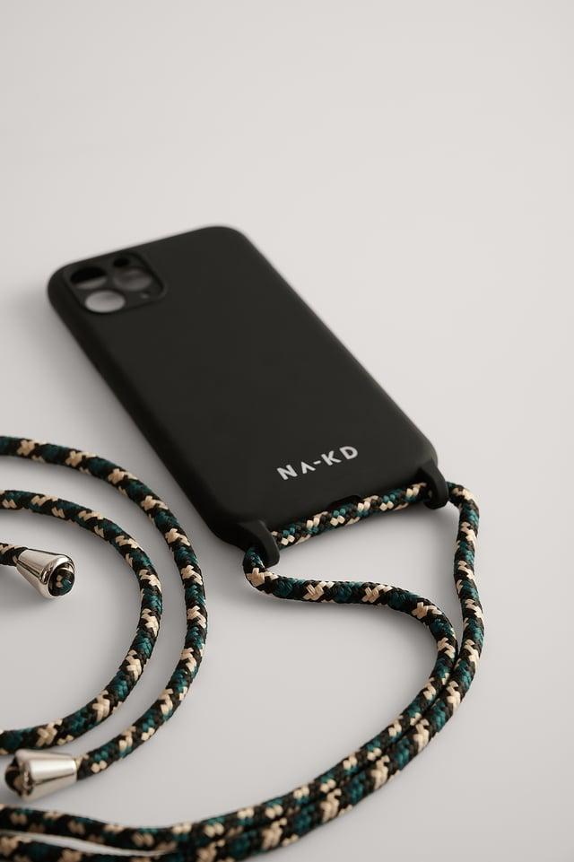 Black/Green Cord Strap Phone Case