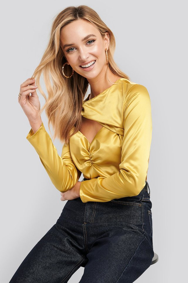 Yellow Cut Out Satin Long Sleeve Top