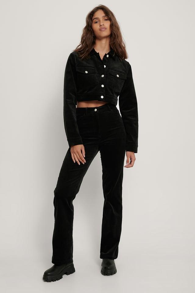 Pantalon En Velours Côtelé Black