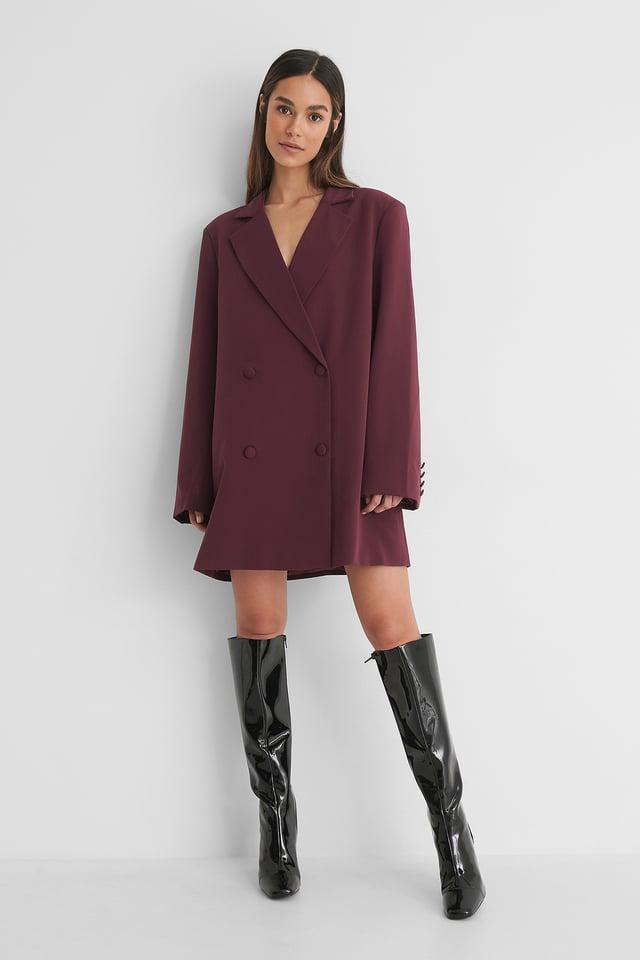 Burgundy Robe Blazer Surdimensionnée