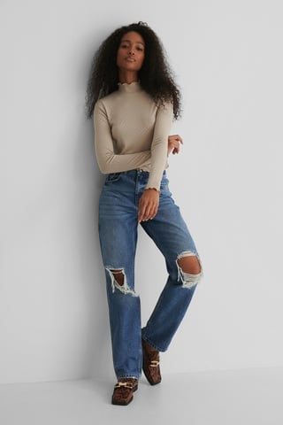 Mid Blue Distressed Straight Fit Jeans