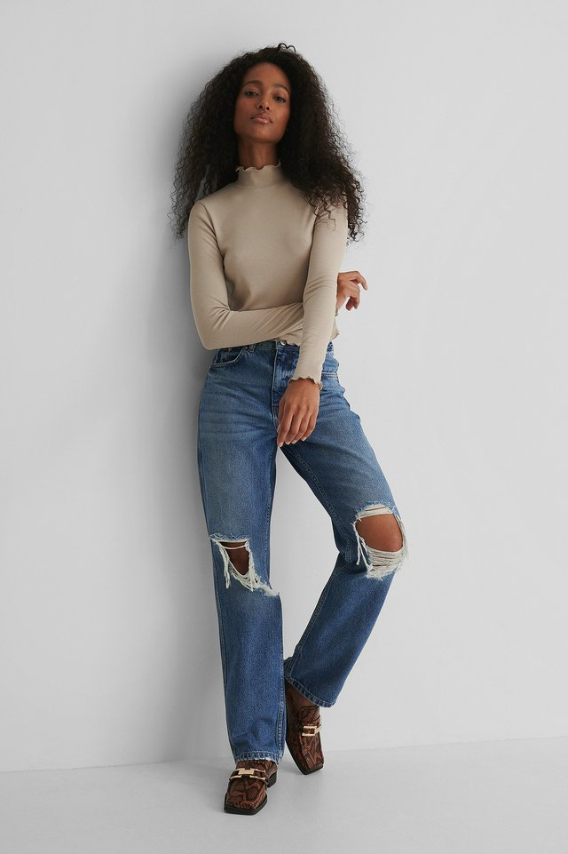 Distressed Straight Fit Jeans Mid Blue