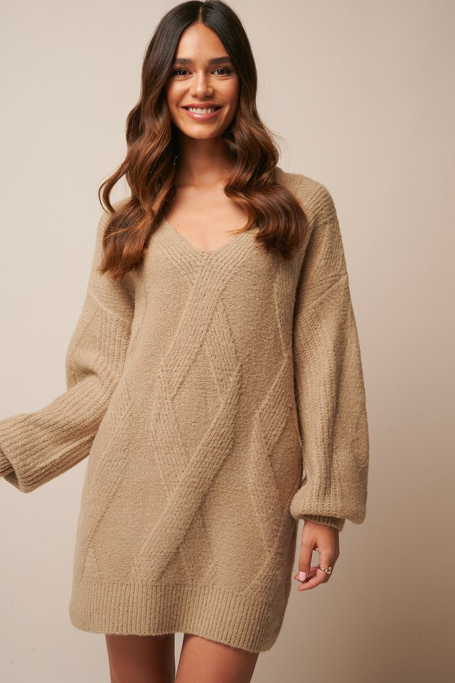 Braided Cable Knitted Dress Beige