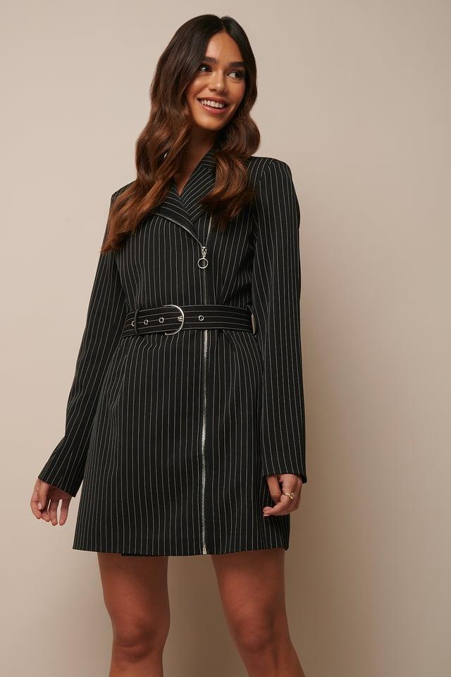 Pinstriped Zip Detail Blazer Dress Black Pinstripe