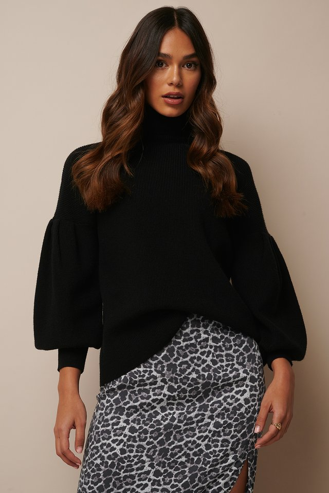 Black Dropped Shoulder Polo Neck Sweater