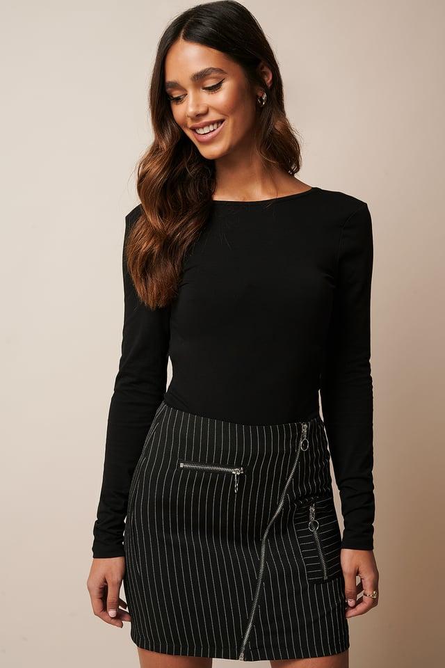 Black Pinstripe Pinstriped Zip Detail Skirt