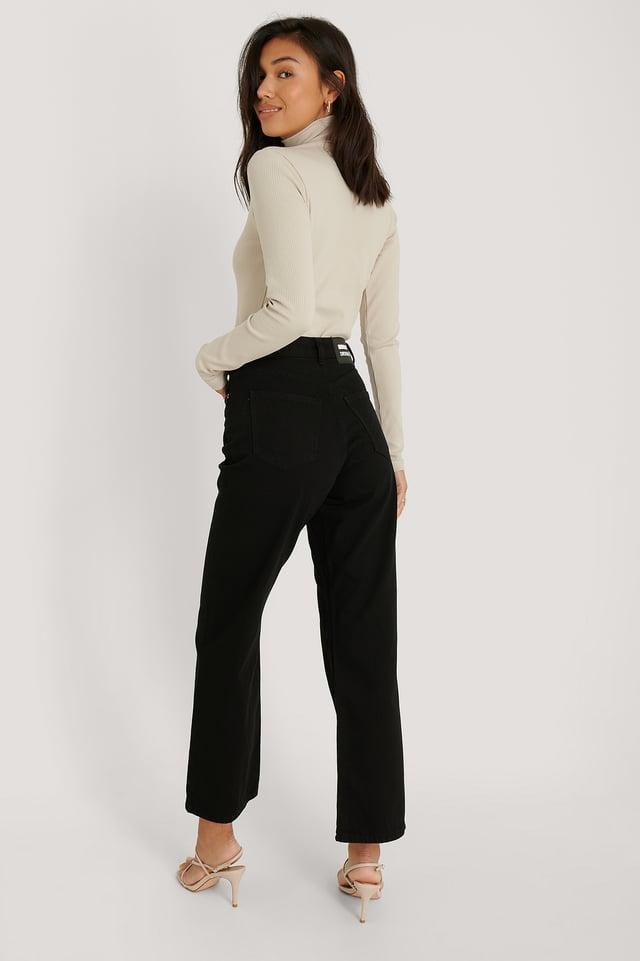 Jean Taille Haute Droit Black