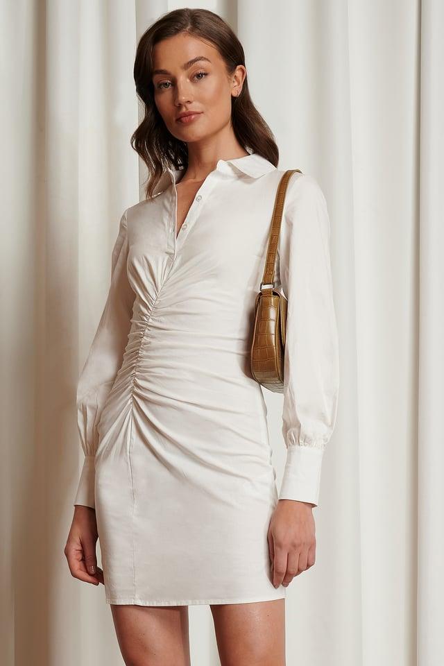 Robe Chemise Drapée White
