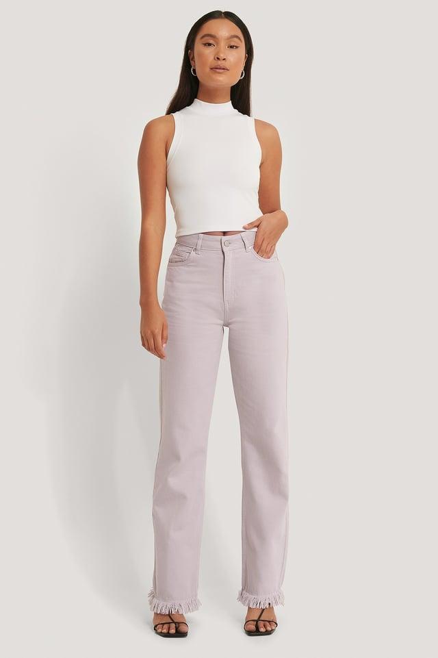 Jean Droit Taille Haute Dusty Lilac