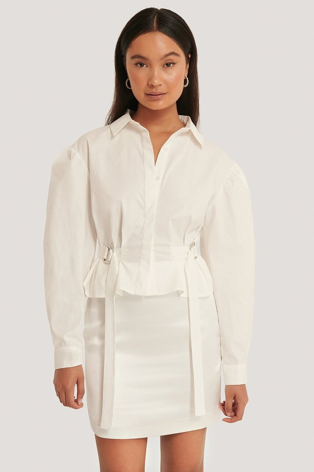 Chemise Surdimensionnée À Taille Marquée White