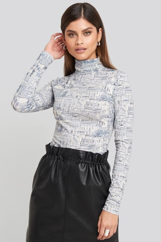Blue Print Viscose Turtleneck Top
