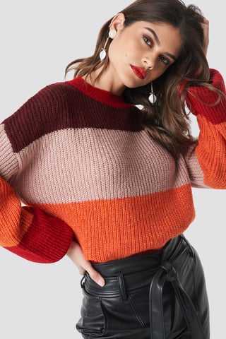 Red Color Striped Balloon Sleeve Knitted Sweater