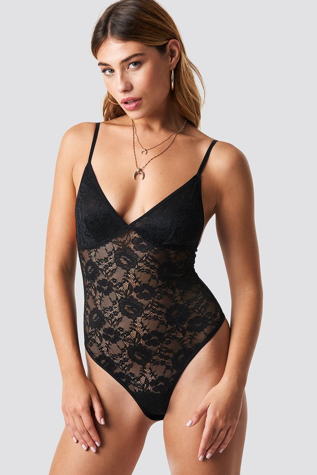 Black Floral Lace Thong Bodysuit