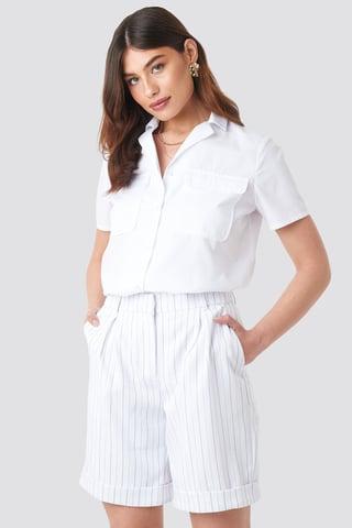 Black/White Stripe High Waist Striped Shorts