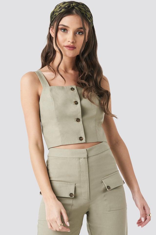 Beige Linen Look Button Up Top