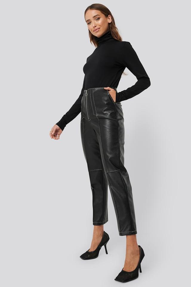 Faux Leather Front Seam Pants Black