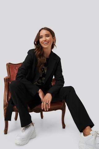 Black Front Tie Oversized Blazer