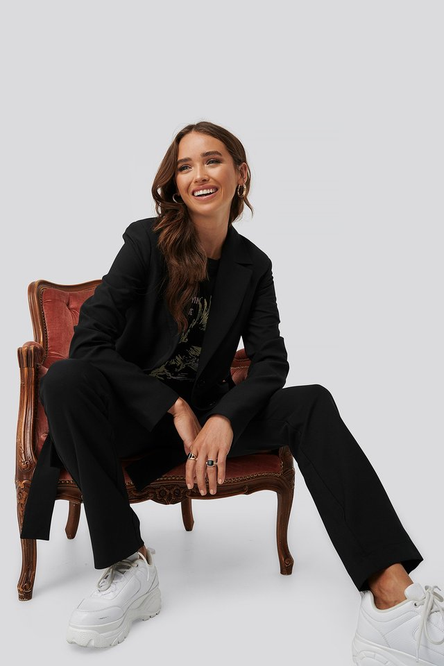 Front Tie Oversized Blazer Black
