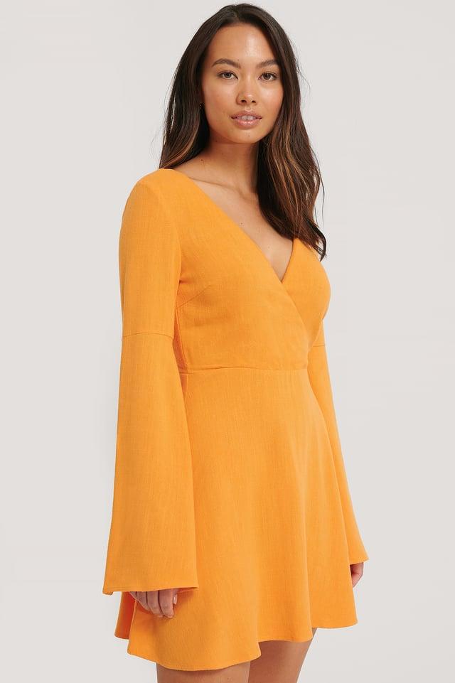 Robe Dos Nu En Lin Mélangé Burnt Orange