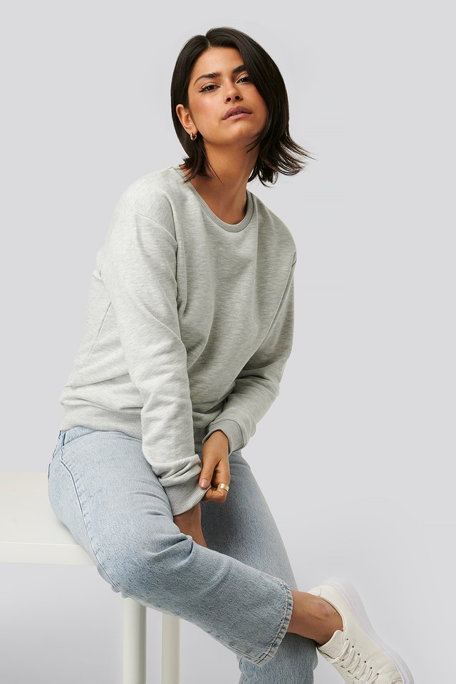 Light Grey Melange Pull Ras Du Cou