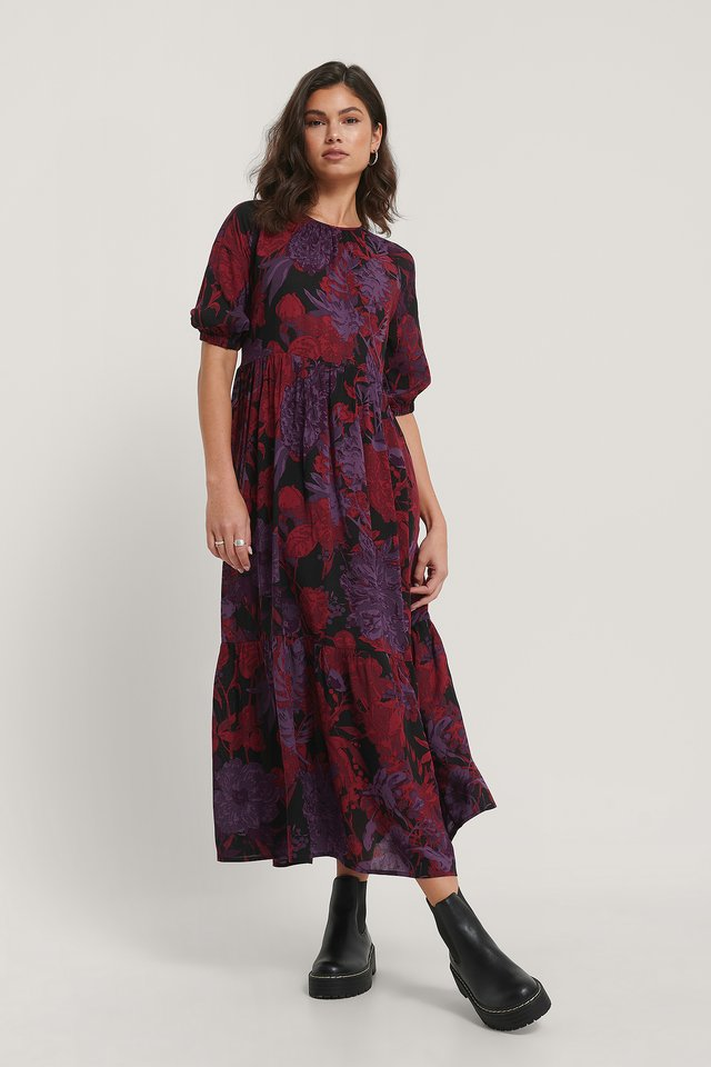 Robe Chemise Manches Courtes Red Purple