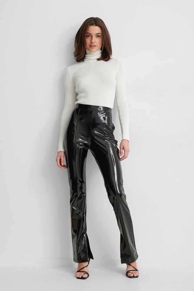 Pantalon Fendu Sur Le Côté Black